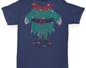 Boy's Headless Santa's Helper Rhinestone Diamante T-Shirt