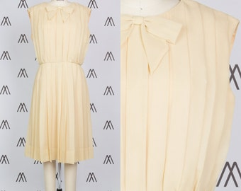 1960s Champagne Chiffon Pleated Midi Dress with Bow