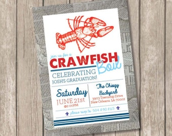 Crawfish Boil Printable Invitation 5x7 or 4x6
