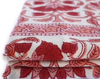 Lotus Wood-Block Printed Bed Cover or Flat Sheet. Picnic Blanket.