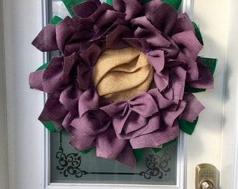 Flower Burlap Wreath // Spring Wreath // Front Door Decor