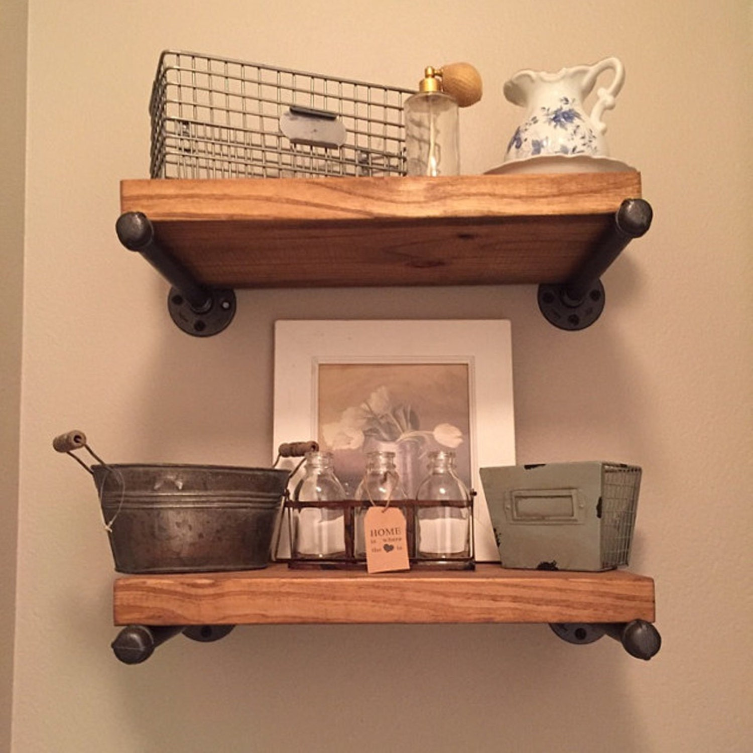 12 deep industrial floating shelf rustic wood and pipe 10 deep industrial floating shelves rustic wood and pipe shelf wall shelf amipublicfo Choice Image