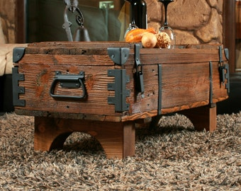 Great Old Travel Trunk Coffee Table Cottage Steamer Trunk Pine Chest Vintage Box