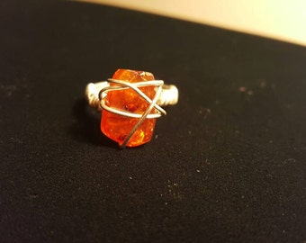 Wire wrapped Amber ring - Sterling silver size 7