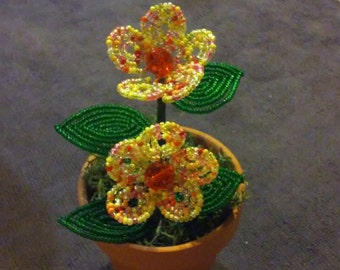 Hand beaded mini floral pot