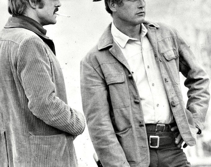 "Robert Redford and Paul Newman on the Set of ""Butch Cassidy & the Sundance Kid"" - 8X10 Photo (EE-139)"