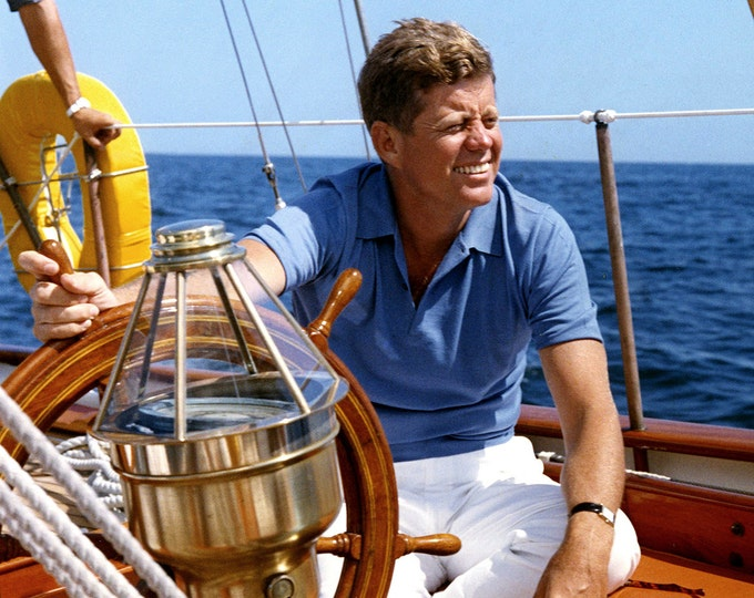 President John F. Kennedy on the USGS Boat Manitou in 1962 - 5X7 or 8X10 Photo (AA-916)