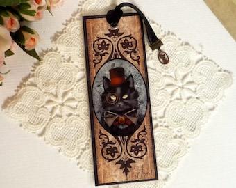 INO, the steampunk cat - bookmarks illustrated, plasticized, handmade