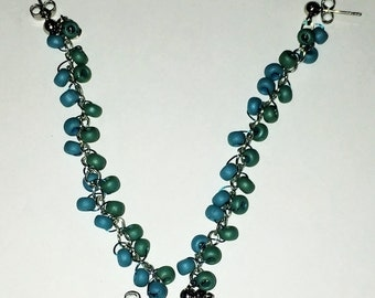 Blue and Green Beaded Double Piercing Earrings