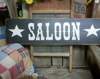 Handmade - SALOON Sign - Reclaimed Wood - Western Bar Sign - Man Cave - Cowboy Sign - Cowgirl Sign
