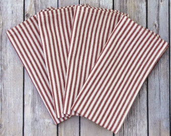 Set of Four, Six or Eight French Ticking Red White Stripe Heavyweight Cotton Cloth Reusable Napkins with Mitered Edges, Dinner Size