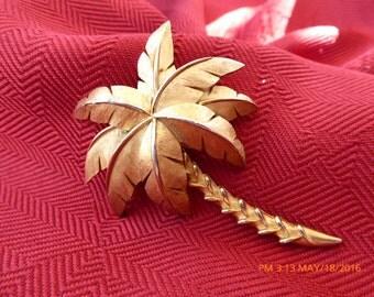 Vintage Trafari, era 1950 Palm Tree brooch.  Free shipping in U.S.