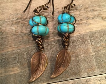 SALE!! Turquoise wire wrapped beads with vintaj brass leaves earrings with handmade ear wires was 17.95 now 12.00
