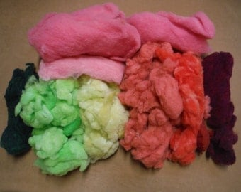 Raw Hand Dyed Wool Fleece,Kool-Aid Dyed Sheep's Wool,Spinning Wool, Felting Wool,Soft Colorful Wool Fleece,Spinning Supply