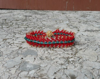 Bracelet Feather red green