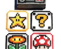 Nintendo Controller Coaster Holder with Coasters - Perler Bead Coasters, Perler Bead Coaster Box, Nintendo Controller, Super Mario Coasters