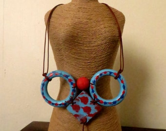 Blue Statement Necklace with Circles