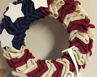 Red, white, and navy blue wreath