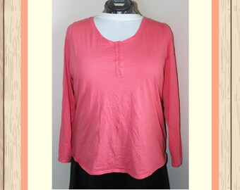 Coral Henley with Lace Accent