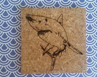 Laser Engraved Shark Coaster Set // Cork Coasters // Gifts for Shark Lovers