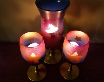 Red, Gold, and Blue Patriotic 4th of July Candle Holders!