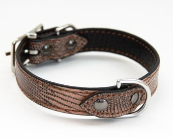 Dog Collar Genuine Lizard Brown/Black