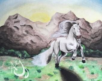 Watercolor Horse Print
