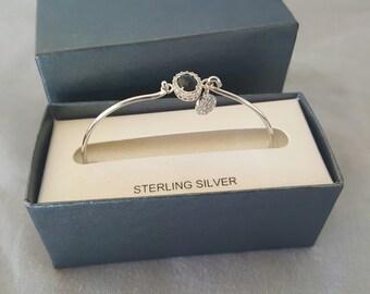 """Sterling Silver """"Love Drops"""" Women's Bangle Bracelet"""