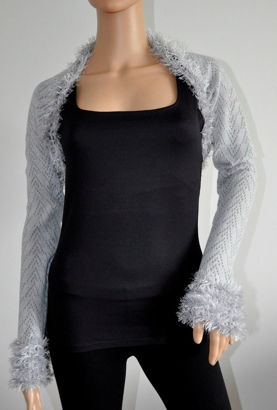 Light Gray Wedding Bolero Jacket Scarf Lace Shrug Bridesmaid Shoulder Cover Knit  faux fur bridal wrap Accessories Handmade Ready to Ship