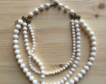 Vintage White 3-Strand Necklace With Decorative Hardware, Costume Jewelry