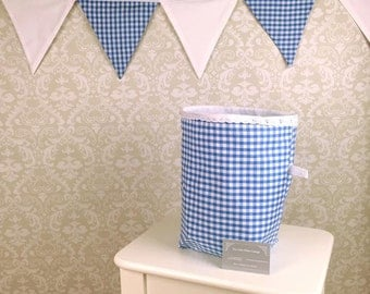Blue Gingham Box and Bunting Set