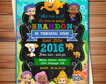 Bubble Guppies party invitation for boy, Bubble Guppies digital chalkboard invitation, thank you card free! print it yourself!