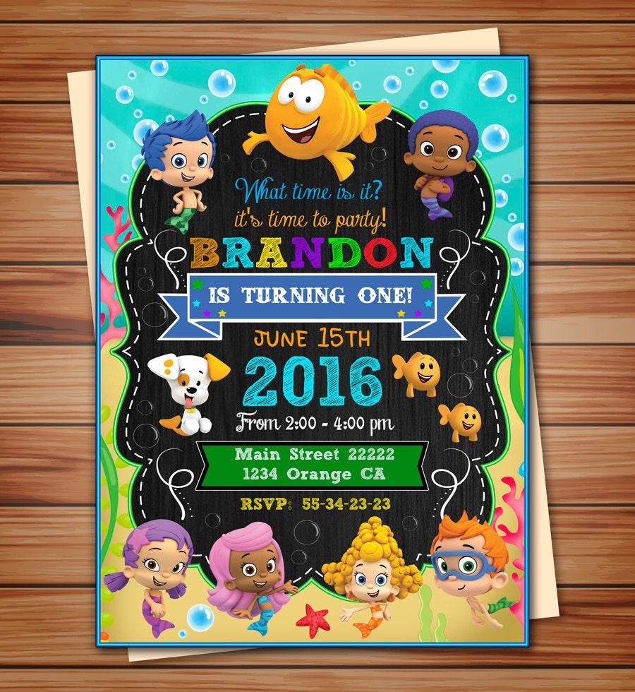 Bubble Guppies party invitation for boy Bubble Guppies digital