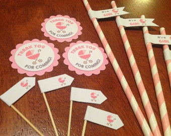 It's a Girl Baby Shower Party Straws/Cupcake Toppers/ Gift Tags Decorations
