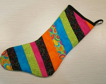 Quilted Christmas Stocking - Brights