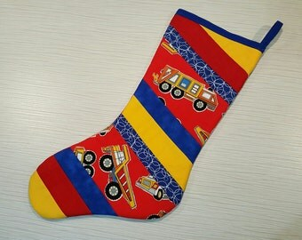 SALE! Save 30% -  Quilted Christmas Stocking - Primary Colours Trucks