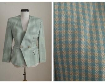15% Spring Sale Vintage 1980s Laura Biagiotti Coat . Laura Biagiotti Jacket Gingham Blazer
