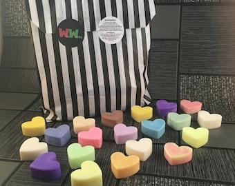 Soy Wax Mini-Melts, Scented Wax Mini-Melts, Heart Shaped Mini-Melts, Sample Packs, Home Fragrance