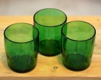 Perrier Water Glasses Stemless Wine Pint Glass / Tumbler made from recycled bottle