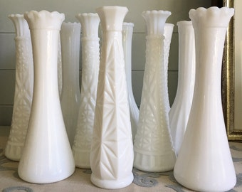 Milk Glass Bud Vase, set of 12