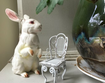 White Wire Dollhouse or Fairy Garden Chair