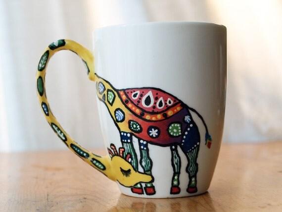 Funky giraffe custom mug hand painted tea coffee - Funky espresso cups ...