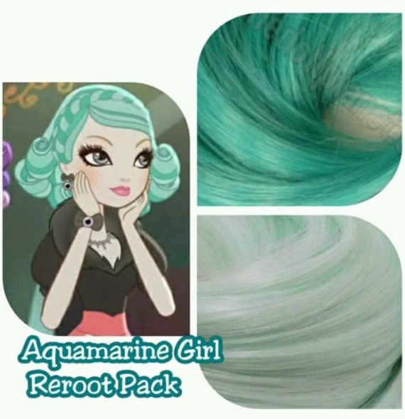 Ever After High Aquamarine Girl Background Character Doll Re-root Pack Nylon Hair Color Blend Kit to make your own OOAK Doll INTL SHIP