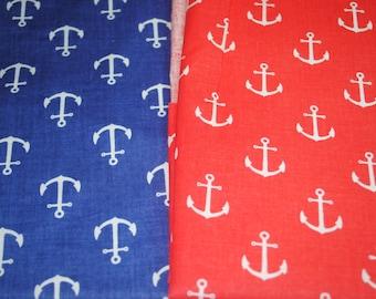 Nautical Fat Quater Navy Fat Quaters Cotton Red maritime themed Fabric Navy blue maritime Fabrics Anchor Fabrics   航海脂肪Quatersコットン
