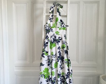 1970's blue and green floral halter dress