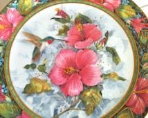 The Imperial Hummingbird/Collector Plate/Hummingbird Plate/Flowered Plate/Queen Elizabeth/Artist Plate/Teresa Politowicz/Franklin Mint
