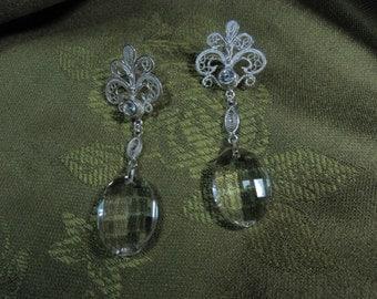 Fine 999 silver filigree earrings