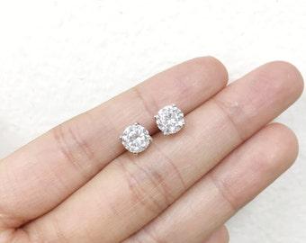 Flash Sale 6mm Sterling Silver Cubic Zirconia Stud Earrings