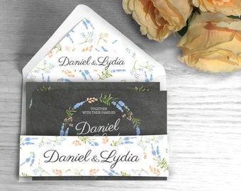Personalised High Quality Floral Blackboard Wedding Belly Bands