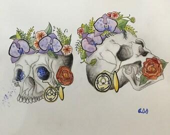Twin Floral Skulls